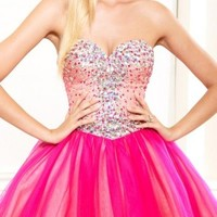 Jeweled Sweetheart Bodice Fit and Flare Short Prom Dresses by Terani Couture