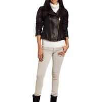 Via Spiga Women's Asymmetrical Zip Front Leather Motorcycle Jacket