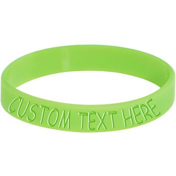 Custom Green Silicone Glow in the Dark Personalized Message Bracelet