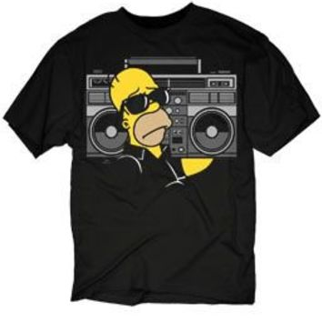 The Simpsons Homer Boombox Stereo Black Adult T-shirt  - The Simpsons - | TV Store Online