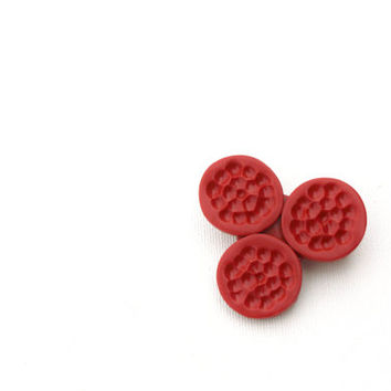 Red minimal brooch,abstract women accessories, polymer clay jewelry, textured