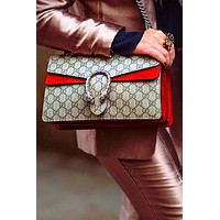 GUCCI Fashion Hot Selling Spicy Girls Alcoholics Shoulder Bag Shopping Bag Red