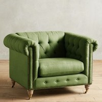 Linen Lyre Chesterfield Armchair, Wilcox by Anthropologie
