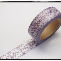 White & Purple Washi tape - motif - 15mm Wide - 11 yards  WT419