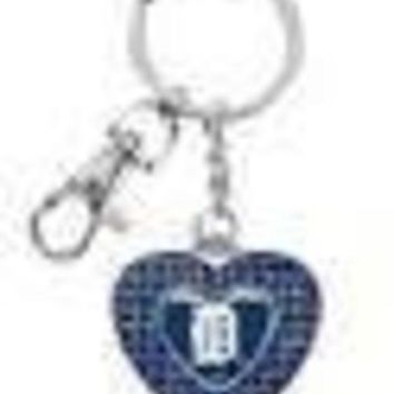 ONETOW MLB Detroit Tigers Glitter Stone Heart Keychain