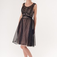 Vintage 50s Illusion Black Lace Slip Dress with by aiseirigh
