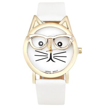 Women  Leather Printing Cat Face Fashion Watch