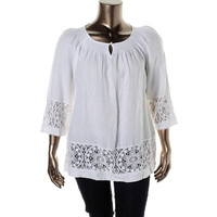 Charter Club Womens Plus Linen Crochet Tunic Top