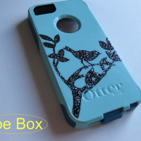 iphone 5 Otterbox case,bling iphone 5 case, baby blue , Baby blue iphone 5/5s case, iphone 5s case,Iphone 5 cover, iphone 5 commuter series