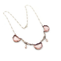 Art Deco Necklace, Sterling Silver, Pink Glass, Open Back, Antique Jewelry, Glass Necklace, Sterling Necklace, Antique Necklace