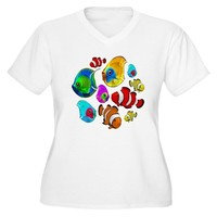 Tropical Fishes Pattern Women's Plus Size V-Neck T-Shirt