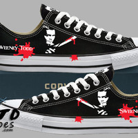 Hand Painted Converse Lo Sneakers. Sweeney Todd. The Barber.  Handpainted shoes.