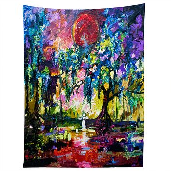 Ginette Fine Art Crimson Moon In Savannah Tapestry