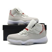 Nike Air Jordan Retro 11 Platinum Tint Men's Red Logo Basketball Shoes High Cut Outdoor Training Shoes