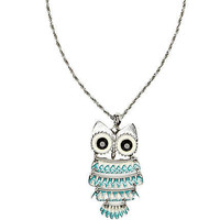 Silver tone owl pendant long necklace