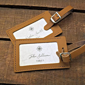 Luggage Tag Place Cards, Destination Wedding Place Cards, Beach Wedding Place Cards, Travel Wedding Place Cards, Leather Luggage Tags