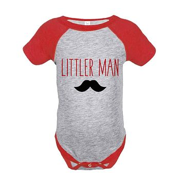 Boys Littler Man Onepiece - Mustache Red Raglan Onepiece - Big Man Little Man - Big Brother Little Brother Outfits - Happy Fathers Day Gift