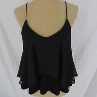 UO Sparkle & Fade top L Large black ruffled crop tank top hippie summer festival