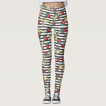Cute Foodie Fruity Strawberry Bananas and Stripes Leggings