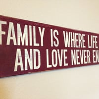 """Wood Sign Quote - """"Family is where life begins..."""" - 24"""" x 5.5"""""""