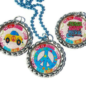 Peace, Love, and Music...Set of 3 Bottlecap Pendants with Teal Ball and Chain Necklace Set