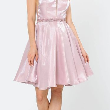 Halter with Pockets Short Homecoming Dress Rose Gold