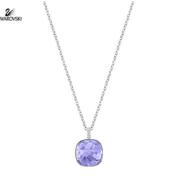 Swarovski Purple Square Clear Pave Crystal Pendant Necklace DOT #5158514