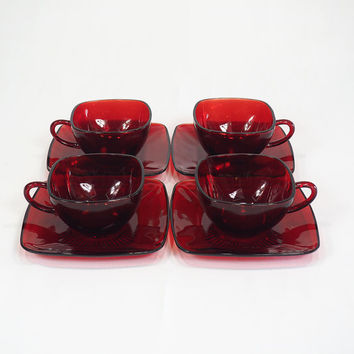 Anchor Hocking Ruby Red CHARM Cup and Saucer Set | Square Red Glass Tea or Coffee Set for Four