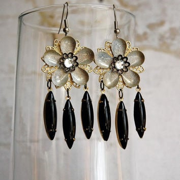 Moonflower Steampunk Garden Party Earrings in by bionicunicorn