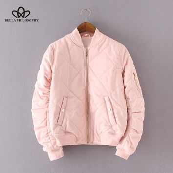 Bella Philosophy 2018 quilting bomber jacket women spring coat zipper long sleeve winter jacket cotton-padded pink outwears