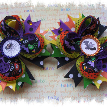 Halloween Hair Bows - Layered Halloween Boutique Hair bows - Halloween Stacked Hair bows - Pigtails Hair Bows - Bats Spiders Hair bows