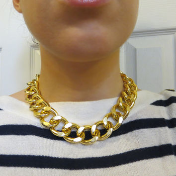 Thick and Chunky Shiny or Matte Gold Chain Necklace