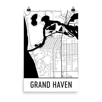 Grand Haven Michigan Street Map Poster