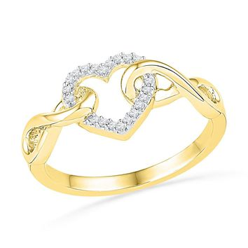 10kt Yellow Gold Womens Round Diamond Infinity Twist Heart Ring 1/10 Cttw