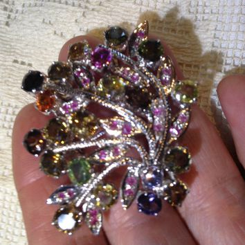 Vintage Handmade Genuine Mixed Tourmaline Gemstone 925 Sterling Silver Rhodium Brooch