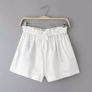Summer Korean Cotton Linen Casual Pants Women's Fashion Shorts [6034607489]
