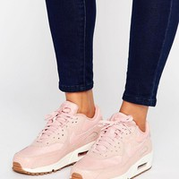 Nike Air Max 90 Premium Trainers In Pink at asos.com