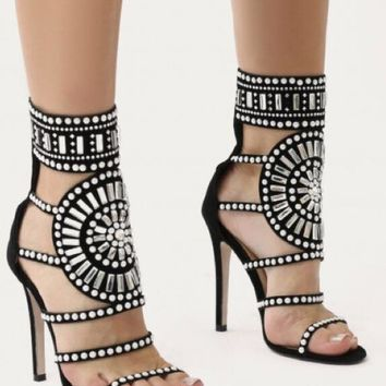 Hot Selling Women Fashion Open Toe Rhinestone Design High Heel Sandals Cut-out Crystal Ankle Wrap Gladiator Sandals