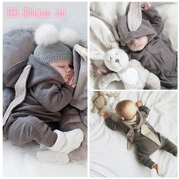 2017 Newborn Infant Baby Girl Boy Clothes Cute 3D Bunny Ear Romper Jumpsuit Playsuit Autumn Winter Warm Bebes Rompers One Piece