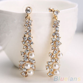 Elegant Chic Women Lady's Pearl Rhinestone Chandelier Stud Earrings Jewelry  2JGP