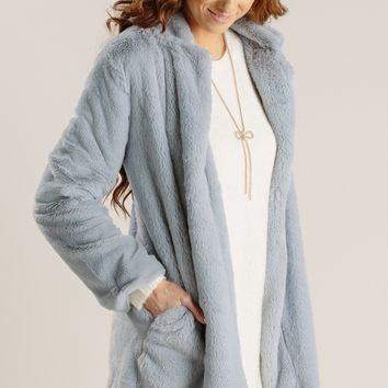 Elena Grey Faux Fur Coat