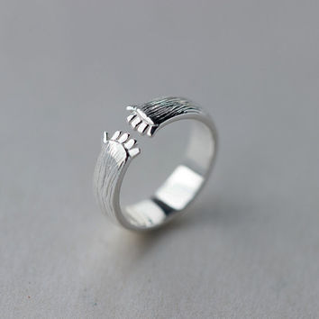 Cute Hands Hug Adjustable Ring Sterling Silver, Silver Hug Ring,gift for her,Silver Ring,Silver jewelry