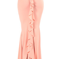 Salmon Ruched Detailed Mermaid Maxi Skirt