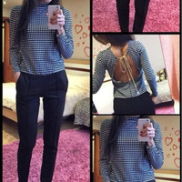 Houndstooth Print Halter Long Sleeve Blouse