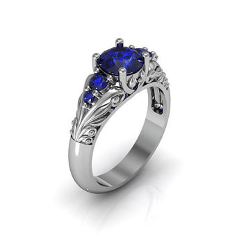 Art Deco Ring -  Antique Style Sterling Silver Created Blue Sapphire Floral  Engagement  Wedding Anniversary and Promise Solitaire Ring