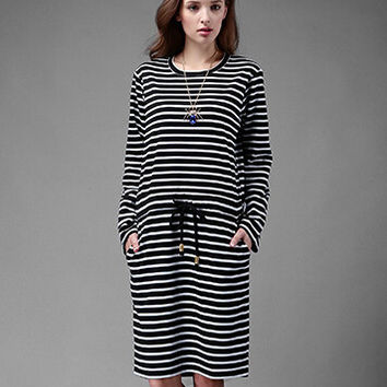 Striped Long Sleeve Loose Drawstring Waist Dress