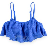 Malibu Walk This Way Cobalt Flounce Bikini Top
