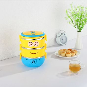 Cartoon minion Thermal Bento Box For Food Stainless Steel Insulation Storage Food Container Dinnerware Set