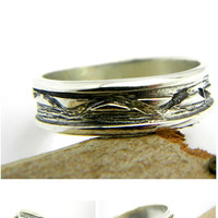 Men's Silver Ring Band, organic sterling silver rustic ring for man size 10 - 11 silver band ring, mens wedding band