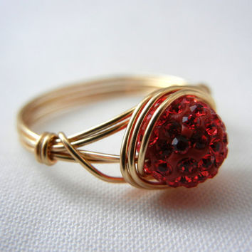 Rhinestone Ring, Siam Crystal Ring, Red Crystal Ring, Wire Wrap Jewelry Handmade, Wire Wrapped Ring